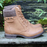 Shady Groves Camel Lace Up Combat Ankle Boots