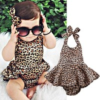 Newborn kids Leopard Print Romper Infant Baby Girls backless Floral Romper Jumpsuit Outfits Sunsuit Clothes
