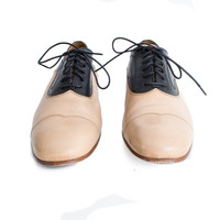 Navy and Beige Leather Lace Up Shoe size:13