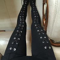 Women Black Jeans Pants High Elastic Waist Loose Punk Cotton Chain Tied Strappy Leggings Pants Rock Goth Clubwear Club Queen