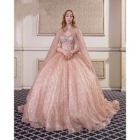 2021 Champagne Sequined Quinceanera Dresses With Beads Sleeveless Ball Gown Sweet 15 16 Dress Vestidos De 15 Anos quinceanera