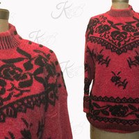 Vintage Sweater, 80s Sweater, Oversized Sweater, Black Sweater, Floral Sweater