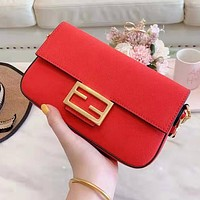 FENDI Fashion Women Shopping Bag Leather Handbag Satchel Shoulder Bag Red