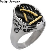 EdgLifU  barber shop decor Ring For Men Fashion Punk Silver Black Band Ring Band Stainless Steel barber Razor Jewelry Rings Gift
