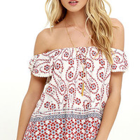 Leave Me Speechless Beige Floral Print Off-the-Shoulder Top