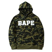 Bape Popular Unisex Leisure Letter Camouflage Print Hoodies Tops Sweater Green I