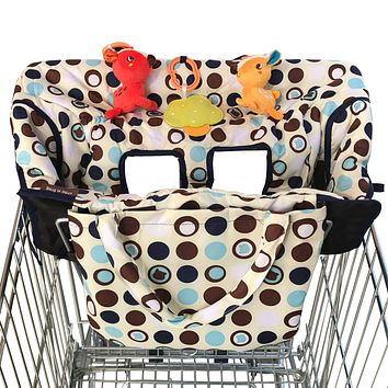 2-in-1 Croc n Frog Shopping Cart Cover and High Chair Covers for Baby Boy or Girl - Toy Loops for Babies - Cover Folded into its Pouch - Easy to Carry - Machine Washable - Perfect Baby Shower Gifts