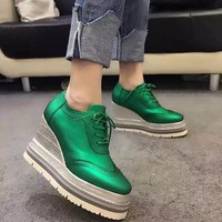 On Sale Hot Deal Hot Sale Stylish Comfort Casual Summer Shoes Thick Crust Platform Shoes Leather High Heel Wedge Sneakers [4919226180]
