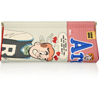 Charlotte Olympia - Archie Comic embroidered crepe de chine clutch