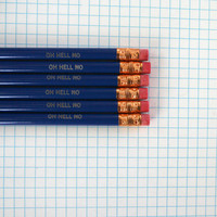 oh hell no  engraved pencil set 6 six midnight blue pencils.