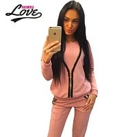 Fashion women's Jumpsuit Overalls Playsuits 2016 Long Trousers Outfits Printed Pink Zip Detail Casual Two Piece Pant Set LC62037