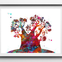 BaobabTree watercolor Print baobab poster tree art, tree painting wall art gift exotic tree wall decor [902]