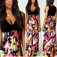 High Quality 2015 NEW Summer Womens Floral Print Chiffon Long Dresses V-Neck Beach Boho Maxi Sundress Plus Size S M L = 1753492100