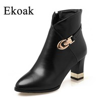 Ekoak Size 35-43 New 2017 Autumn Boots Fashion Martin Boots Women Casual Leather Boots Buckle Warm Women Ankle Boots