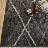 Mercury Row Broken Lattice Gray Area Rug