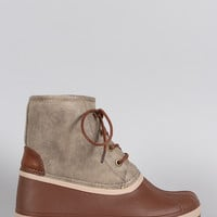 Bamboo Contrast Lace Up Round Toe Duck Ankle Boots
