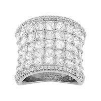 Cubic Zirconia Sterling Silver Ring (White)