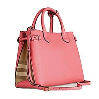Tote Bag Handbag Authentic Burberry Medium Banner in Leather and House Check MAUVE PINK Item 39818951