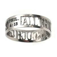 """Christian Women's Stainless Steel Abstinence 6mm """"All Things Through Christ"""" Philippians 4:13 Cutout Mini Silhouette Chastity Ring for Girls - Girls Purity Ring"""
