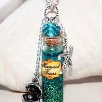 Mermaid Tears in Glass Bottle Potion Necklace with Starfish and Seashell charms