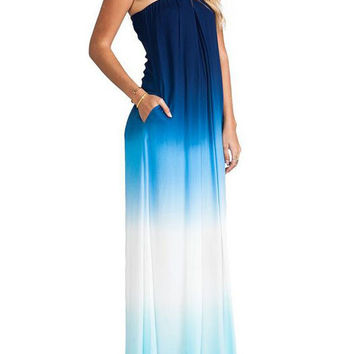 Blue and White Gradient Strapless Casual Maxi Dress