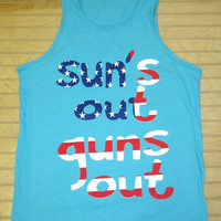 Men's Jersey Tank Top Suns Out Guns Out USA Flag 4th Of July