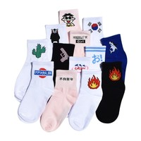 Men&Women Daily Socks Harajuku Korea Japanese Cotton Kitten Flame Ulzzang Socks Men Chinese Cactus Gun Shark Alien Lovers Socks