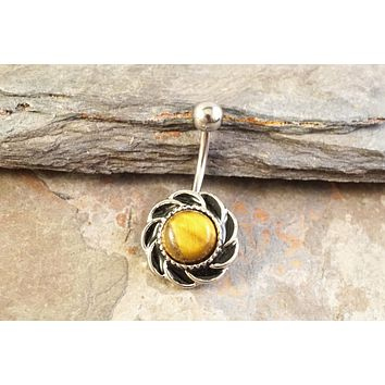 Round Tiger Eye Silver Belly Button Ring Jewelry