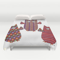 3 Red Owls Flying Duvet Cover by Erin Brie Art