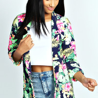 Carah Neon Tropical Notch Neck Blazer
