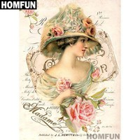 5D Diamond Painting Madame in Flowers Kit