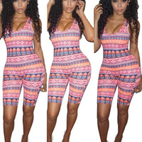 2017 Trending Fashion Summer Women Floral Printed Sexy Floral Printed Nightclub Clubbing Party Erotic Romper Trousers Pants _ 11978