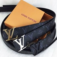 LV Louis Vuitton Classic Popular Women Men Metal Smooth Buckle Monogram Leather Belt-2