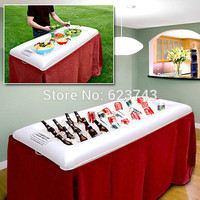 Inflatable floating Buffet and Salad Serving Bar - White Drink Storage Holder