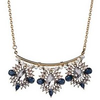 """Women's Cluster Statement Necklace with Three Stone Clusters - Multi/Gold (16"""")"""