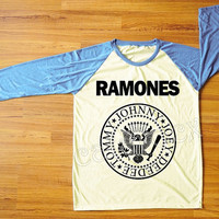 Ramones T-Shirt American Rock Band Punk Rock T-Shirt Blue Sleeve Tee Shirt Women T-Shirt Men T-Shirt Unisex T-Shirt Baseball Tee Shirt S,M,L