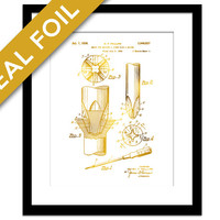 Screwdriver Patent Illustration - Gold Foil Print - Screwdriver Poster - Carpenter Gift - Contractor Gift - Blueprint - Construction Art