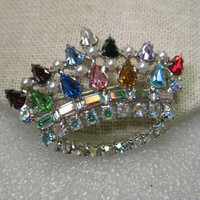 """Vintage Silvertone Crown Brooch, signed B. David, Multi-colored Rhinestones and faux pearls, 2"""" wide"""