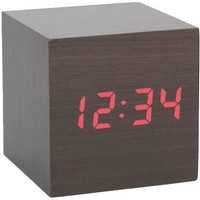 Kikkerland AC22-DK Clap-On Cube Alarm Clock, Dark Wood:Amazon:Home & Kitchen