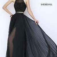 Two Piece Sherri Hill Dress with Pleated Skirt