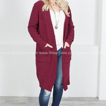Country Home Knit Cardigan   Wine