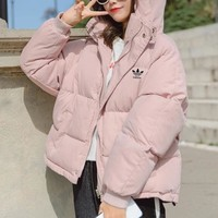 """""""Adidas"""" Women Simple Fashion Solid Color Long Sleeve Hoodie Cotton-padded Clothes Coat"""
