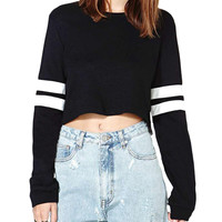 Striped-sleeves Cropped T-shirt