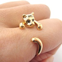 Realistic Kitty Cat Shaped Animal Wrap Around Ring in Shiny Gold | US Size 3 to Size 8.5