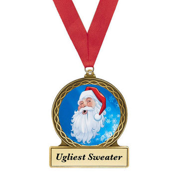 Ugly Christmas Sweater, Award, Christmas Sweater Award, Santa, Santa Award, Ugly Sweater Party, Penguin Metal Award, Christmas Award