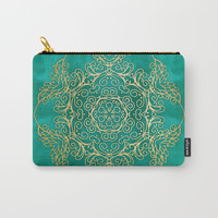 Turquoise & Gold Mandala Carry-All Pouch by tanyalegere
