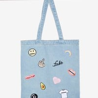 Local Heroes In a Mood Denim Patch Tote Bag