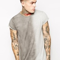 ASOS T-Shirt With Vertical Spray Effect And Roll Sleeve - Gray marl/bl