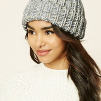 Marled Knit Fold-Over Beanie