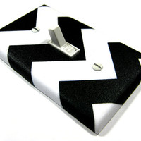Light Switch Cover White and Black Chevron Riley by ModernSwitch